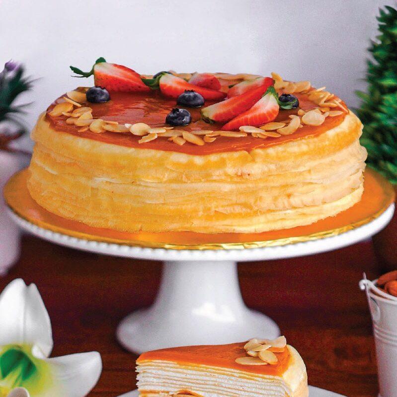 Salted Caramel Almond Mille Crepe Cake e1593061090566