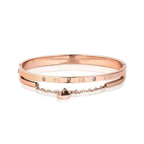 Keira Roman Numeral Dias with Heart Hinged Bangle (Rose Gold)