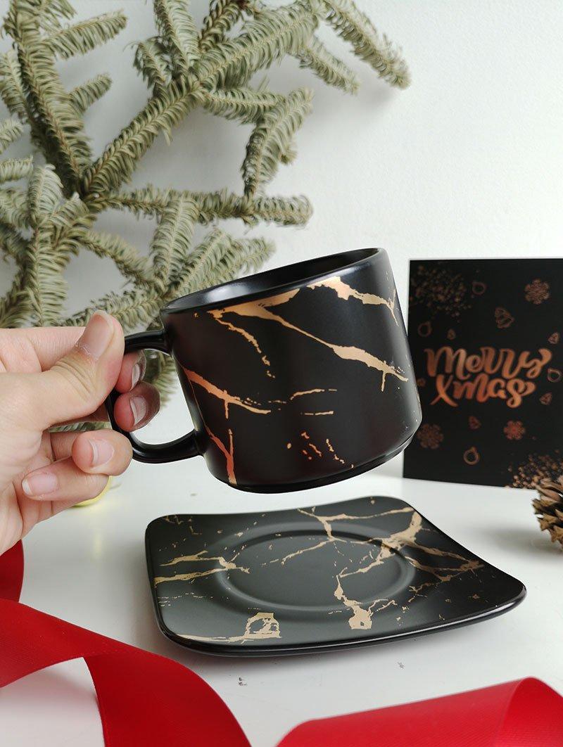 Tea Cup Plate Black 1