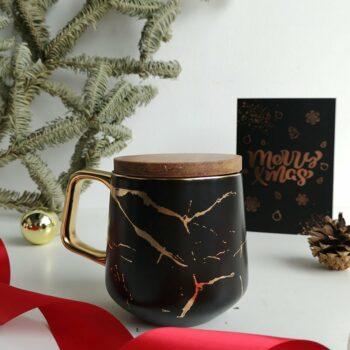 Wood cover mug black 1