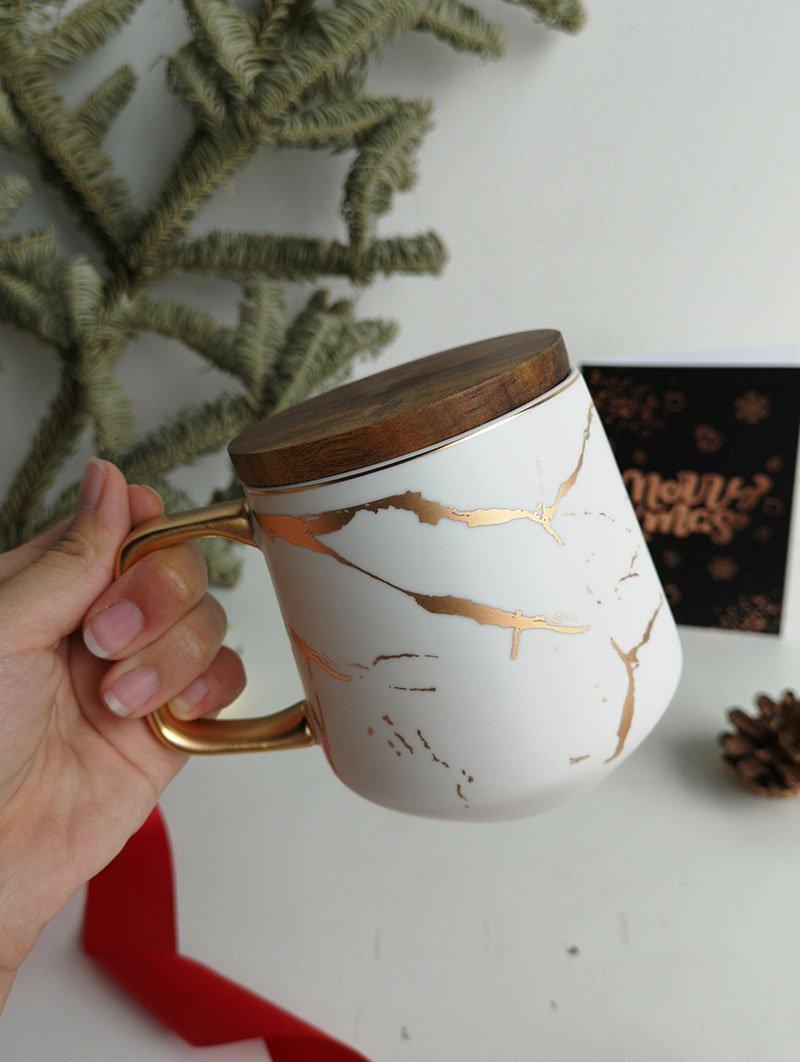 Wood cover mug white 1