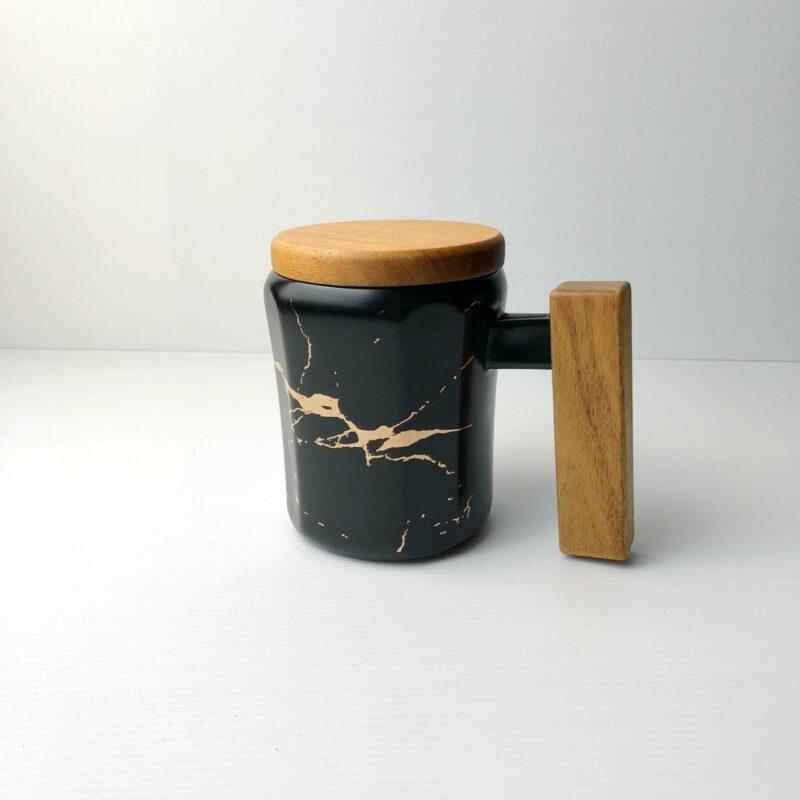 Wooden Handle Marbled Mug black scaled