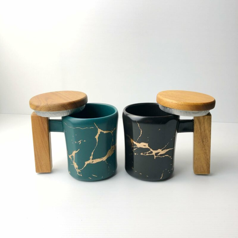 Wooden Handle Marbled Mug both scaled