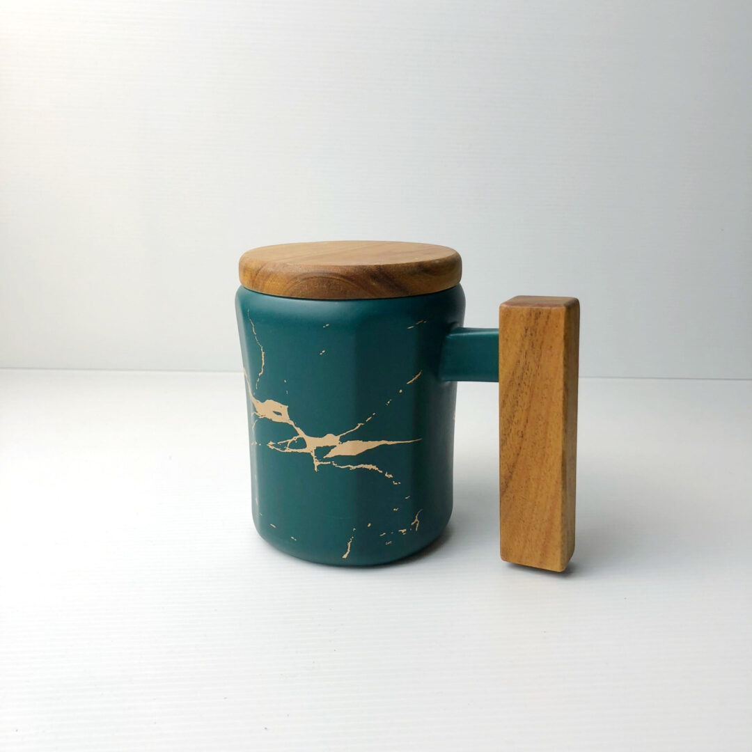 Wooden Handle Marbled Mug green scaled