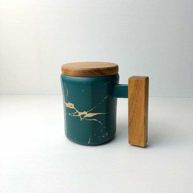 Wooden Handle Marbled Mug green scaled