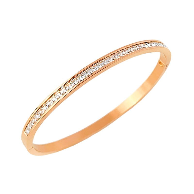 Arya Single Row Zirconia Bangle in Rose Gold 1