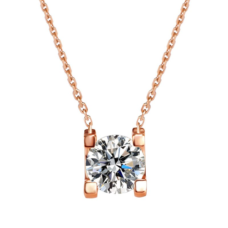 Baily Zirconia with Round Bezel Solitaire Pendant in Rose Gold Chain Necklace main