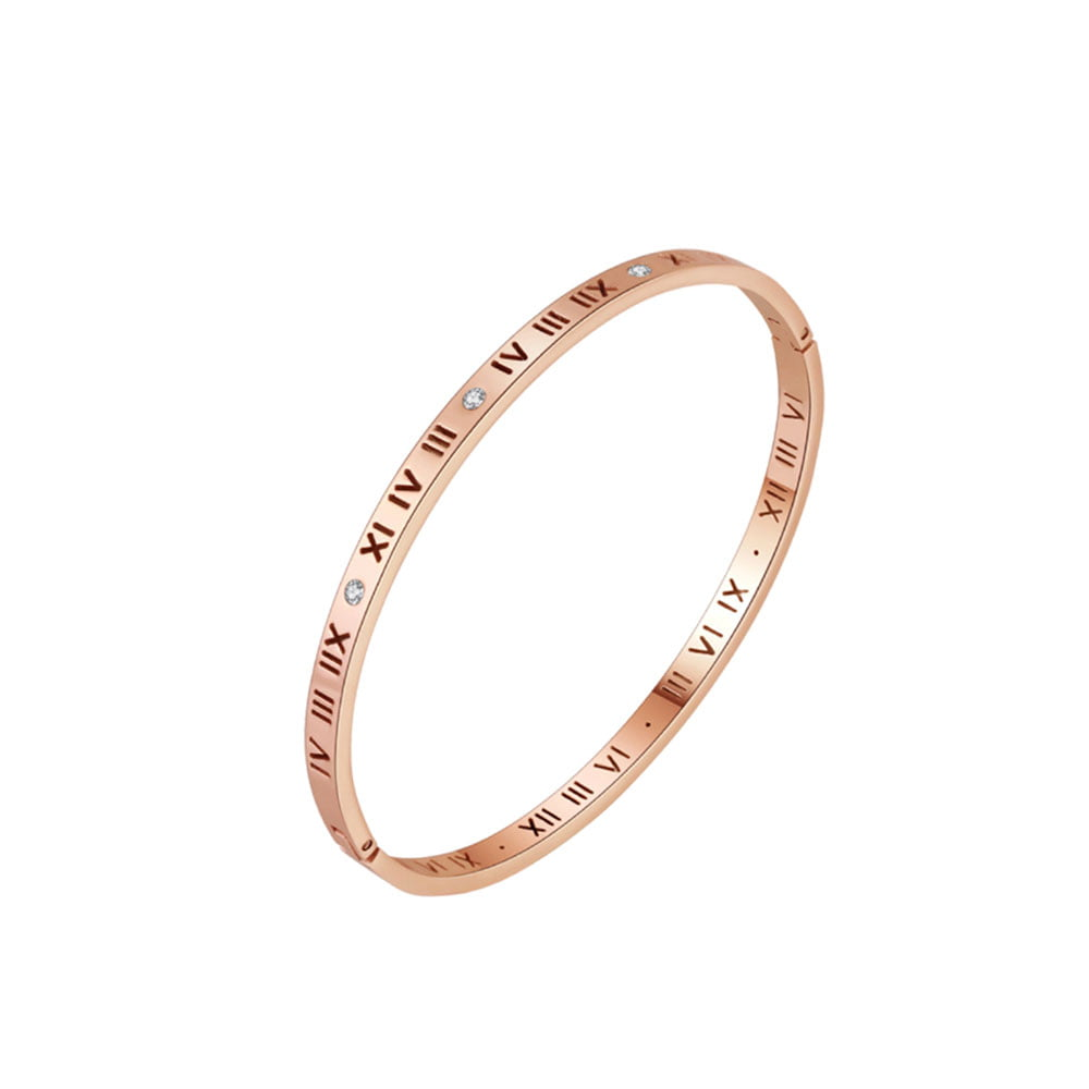 Chantal Roman Numeral Bangle in Rose Gold 1 1