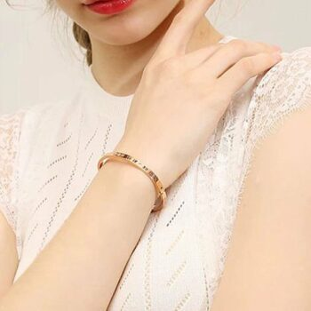 Chantal Roman Numeral Bangle in Rose Gold 2