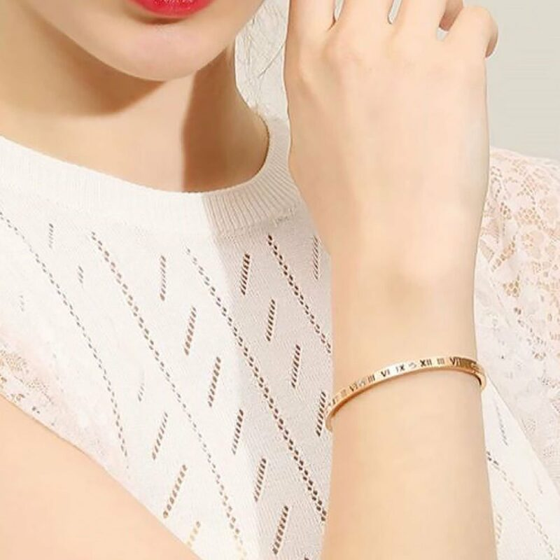 Chantal Roman Numeral Bangle in Rose Gold 3
