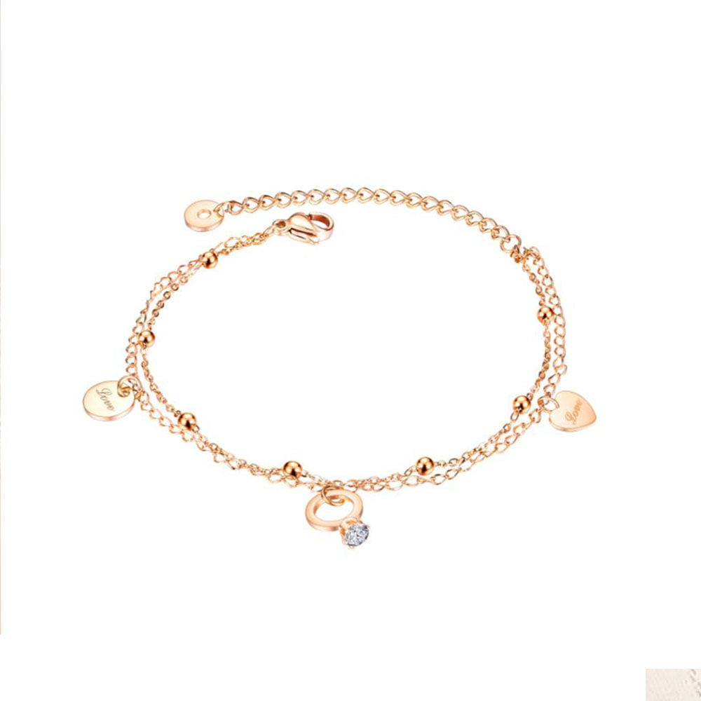 Marry Ring Drop Chain Bracelet in Rose Gold 1