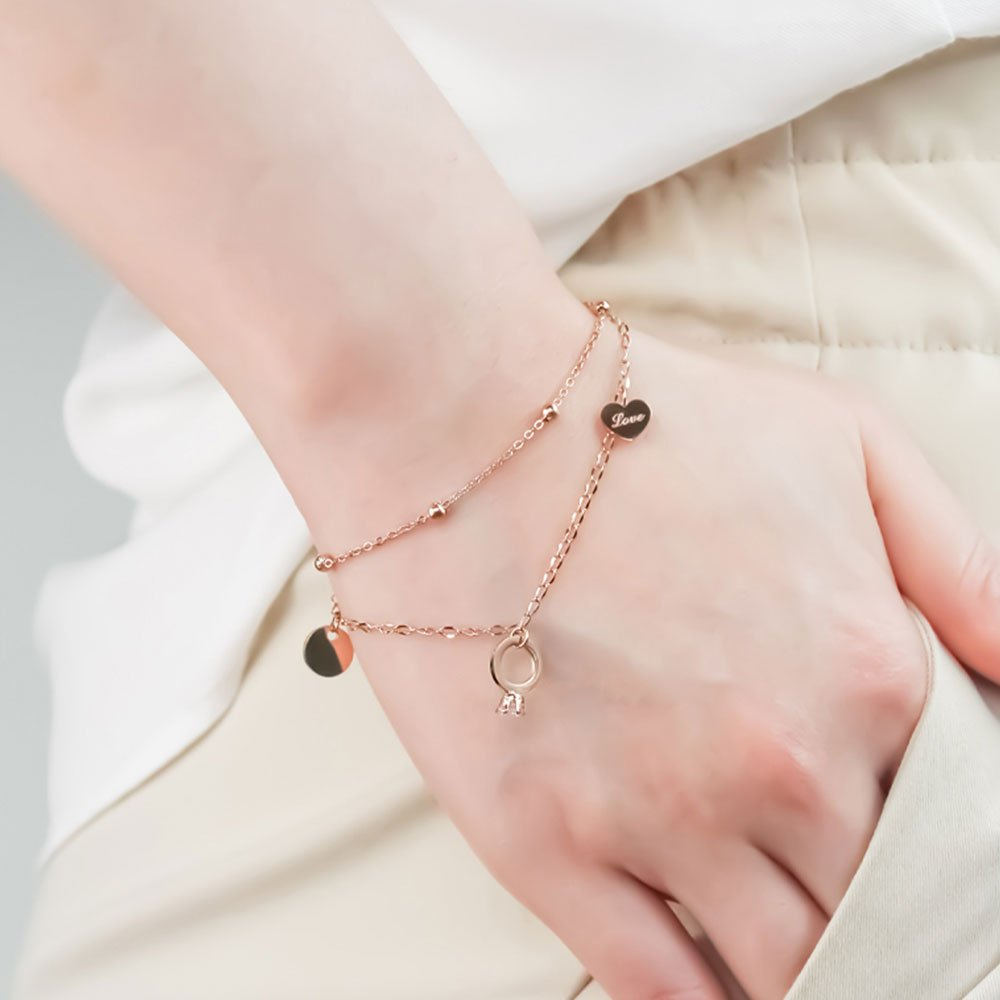 Marry Ring Drop Chain Bracelet in Rose Gold 2