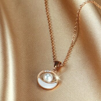 Moana Sea Circle Pendan Necklace in Rose Gold 2