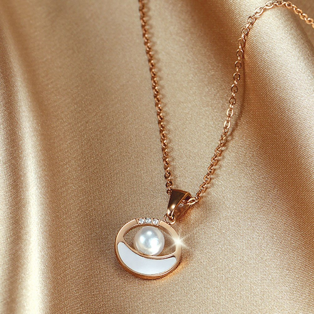 Moana Sea Circle Pendan Necklace in Rose Gold 2