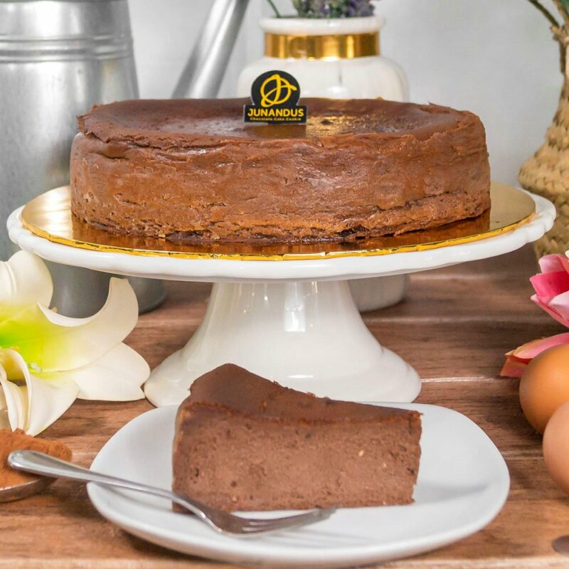 chocolate burnt cheesecake top shot cropped