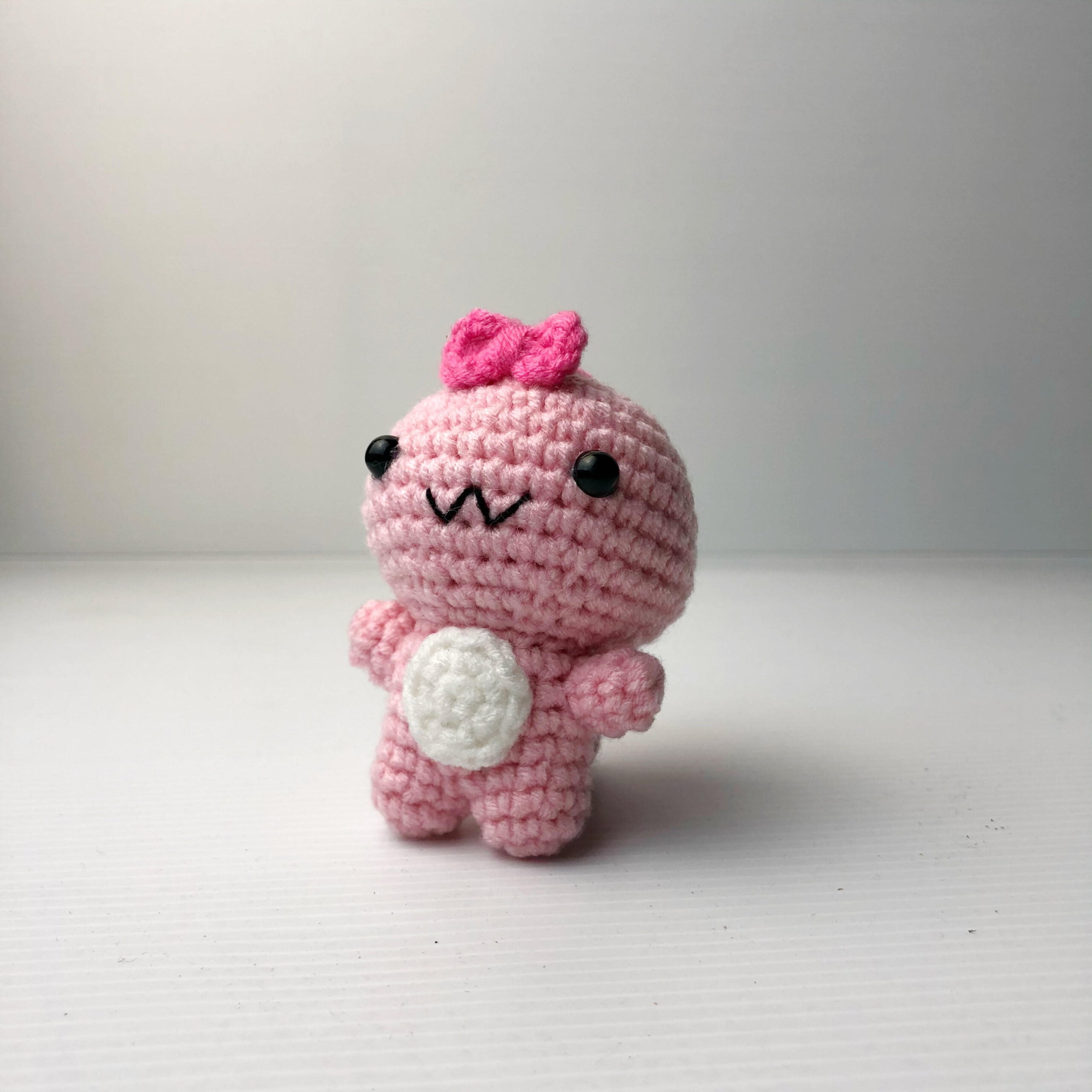Crochet Couple Dino pink scaled