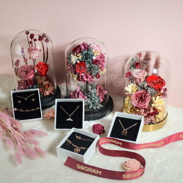 50Gram Preserved Flower Glass Jar Valentines 3