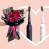 Brudee Toothbrush Valentine Couple Flower Value Bundle White