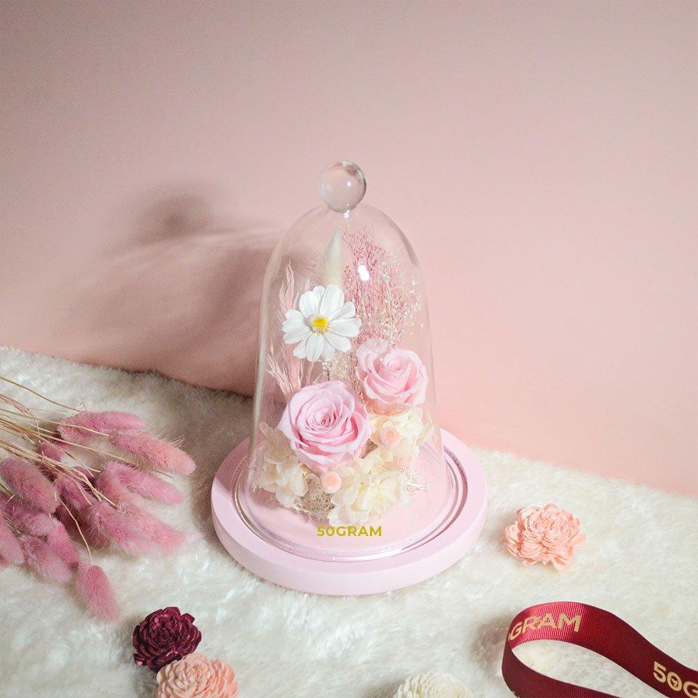 Pink-Preserved-Flower-Glass-Jar