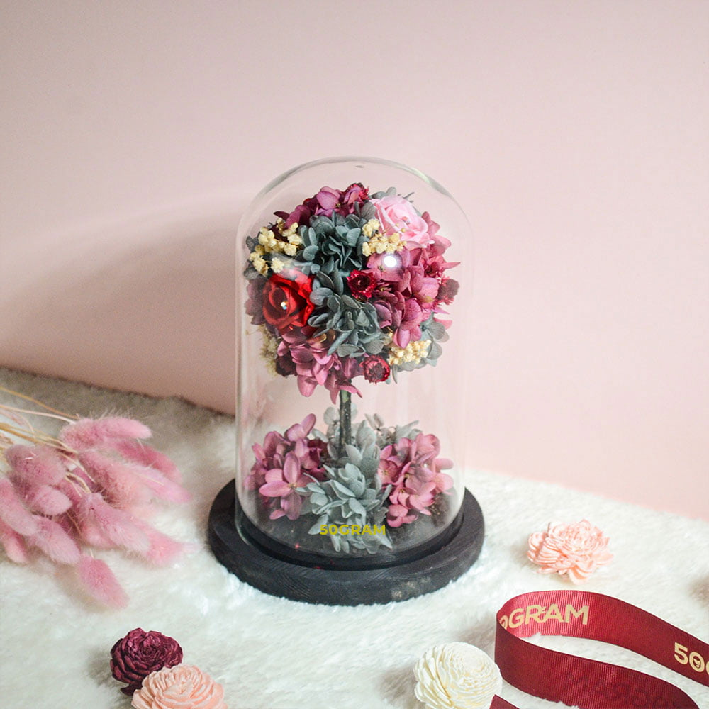 Tree Preserved Flower Glass Jar