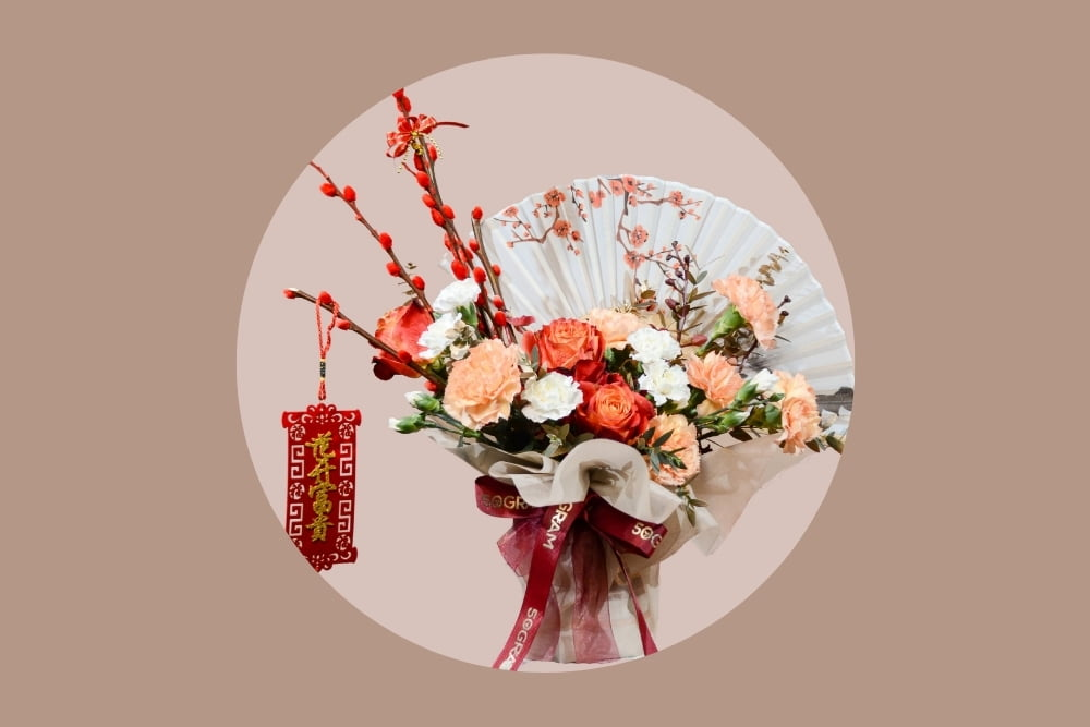 chinese new year basket flower circle white