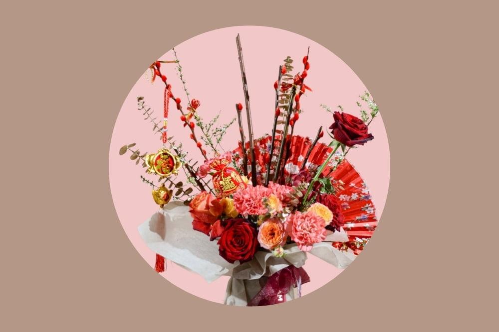 chinese new year basket flower circle
