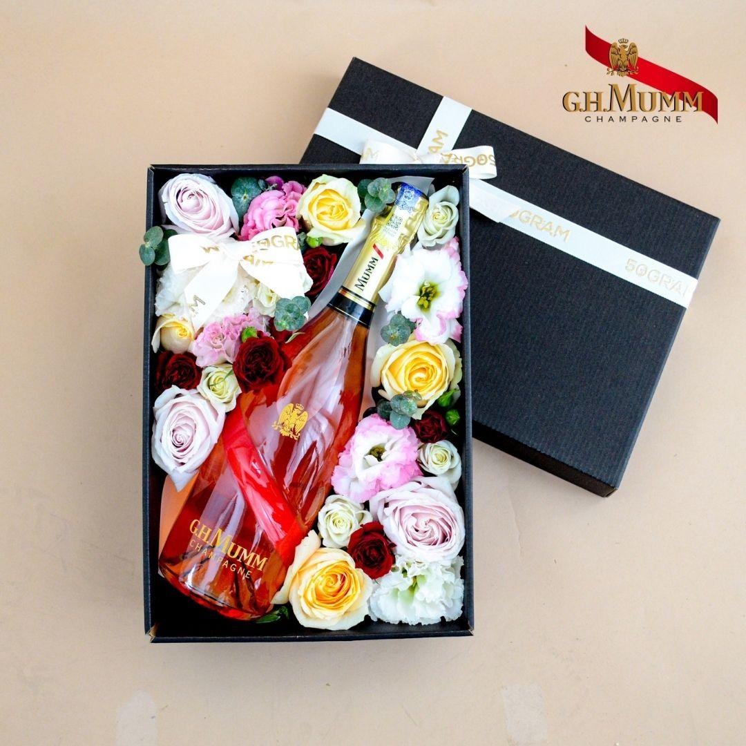G.H Mumm Grand Cordon Rosé Champagne Flower Box