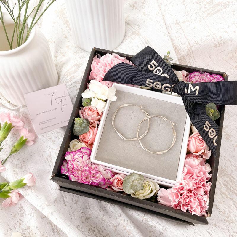 Silver Hoop Earrings Flower