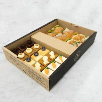 0005030 mini cakes croissant sandwiches catering box